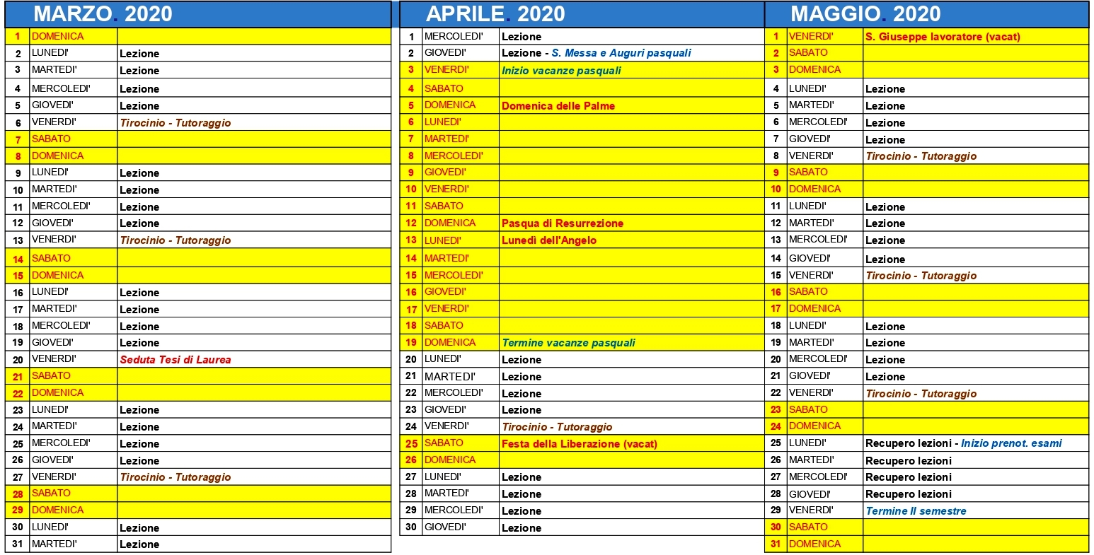 Calendario Religioso 2020.Calendario Accademico Istituto Superiore Di Scienze